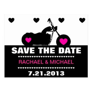 Pink,Black & White Motorcycle Biker Save the Date Postcard