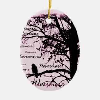 Pink Black & White Nevermore Raven Silhouette Ceramic Ornament