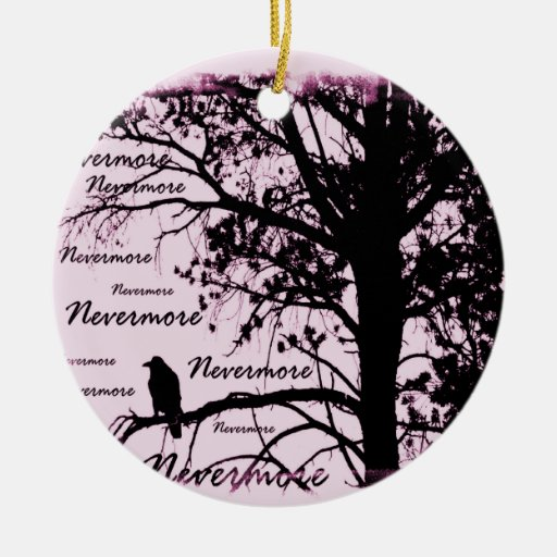 Pink Black & White Nevermore Raven Silhouette Double-Sided Ceramic Round Christmas Ornament