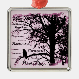 Pink Black & White Nevermore Raven Silhouette Metal Ornament