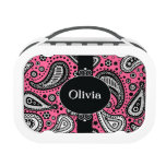 Pink Black White Paisley Personalized Lunch Box