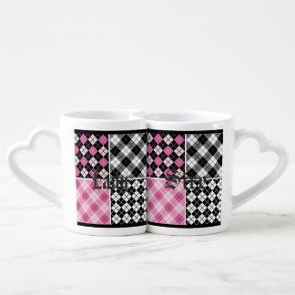 pink black white plaid girly cute pattern trendy couples' coffee mug set