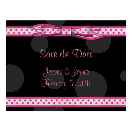 Pink Black White Polka Dot Save the Date Postcard