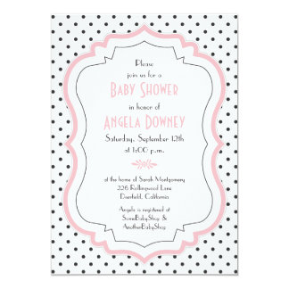 Pink Black White Polka Dots Baby Shower Invitation