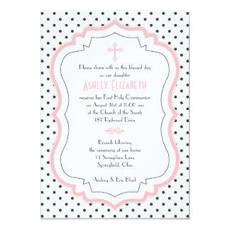 """Pink Black White Polka Dots Communion Invitation 5"""" X 7"""" Invitation Card"""