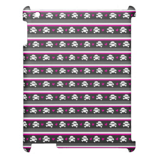 Pink Black White Skull Hearts Pattern Cover For The iPad