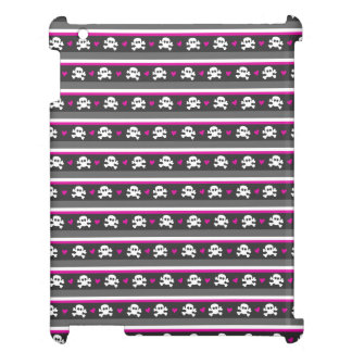 Pink Black White Skull Hearts Pattern iPad Case