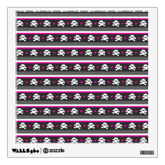 Pink Black White Skull Hearts Pattern Wall Decal