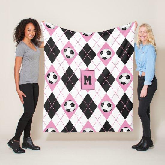 pink black white soccer argyle pattern fleece blanket