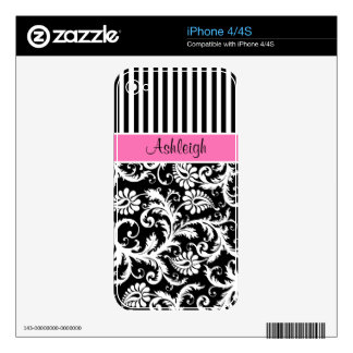 Pink Black White Stripe Damask iPhone4/4s iPhone 4 Decal
