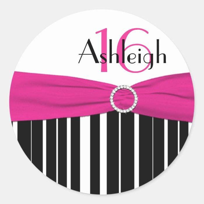 Pink, Black, White Striped 16th Birthday Sticker