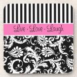 Pink, Black, White Striped Damask Coaster Set (6)