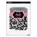Pink Black White Striped Damask iPad 2 Skin