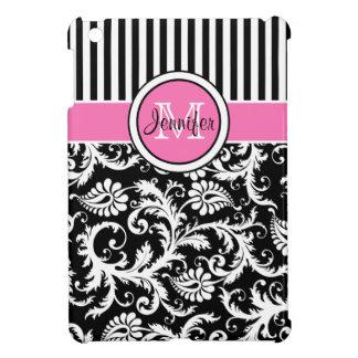 Pink, Black, White Striped Damask iPad Mini Case