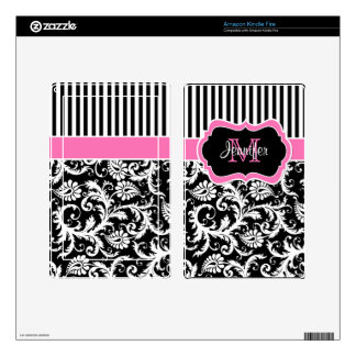 Pink Black White Striped Damask Kindle Fire Skin