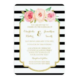 Pink Black White Stripes Gold Wedding Invitations