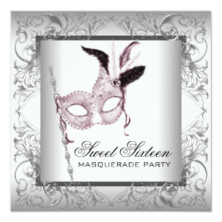 Pink Black White Sweet 16 Masquerade Party Personalized Announcements