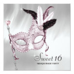 Pink Black White Sweet 16 Masquerade Party Announcements