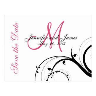 Pink, Black, White Swirls Save the Date Postcard