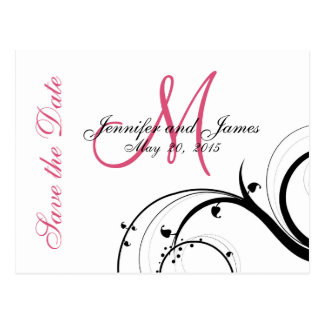 Pink, Black, White Swirls Save the Date Postcards