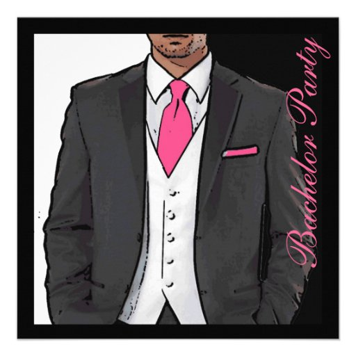 Dark Pink Tuxedo: Pink Black White Tuxedo Bachelor Party Invitations 5.25
