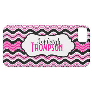 Pink, Black, White Wavy Stripes iPhone 5 Case