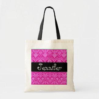 Pink Black White  Wedding Damask Bridesmaid Bag