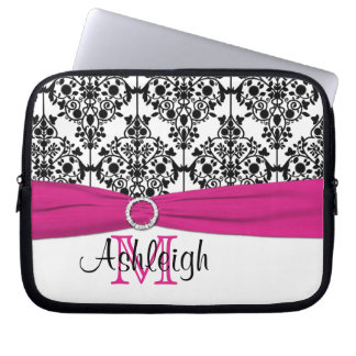Pink Black White with FAUX Ribbon Laptop Sleeve