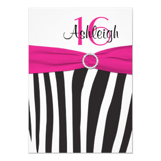 Pink, Black, White Zebra 16th Birthday Invitation
