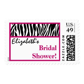 Pink Black White Zebra Bridal Shower Custom Name Postage Stamps