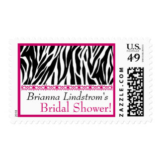 Pink Black White Zebra Bridal Shower Custom Name Postage Stamp