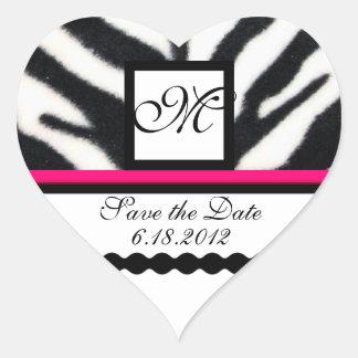 PINK BLACK WHITE ZEBRA FUR MONOGRAM ,Save The Date Heart Sticker