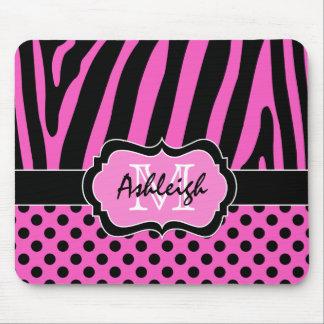 Pink, Black, White Zebra Stripe & Dots Mousepad