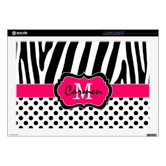 "Pink Black White Zebra Stripe Polka Dot Laptop Decals For 17"" Laptops"