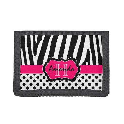 Pink, Black, White Zebra Striped Tri-Fold Wallet