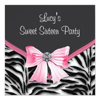 Pink Black White Zebra Sweet 16 Party Card
