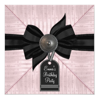 Pink Black Womans Birthday Party Custom Announcement