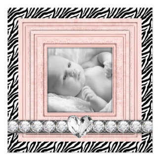 Pink Black Zebra Baby Girl Birth Announcements