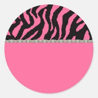 Pink & Black Zebra & Diamonds Address Labels