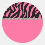 Pink & Black Zebra & Diamonds Address Labels Stickers