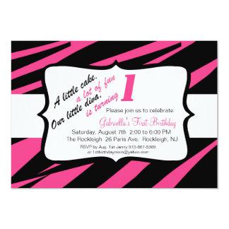 Pink & Black Zebra Girls First Birthday Invite