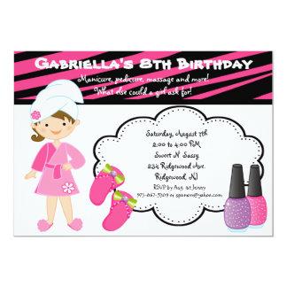 Pink & Black Zebra Girls Spa Day Invite