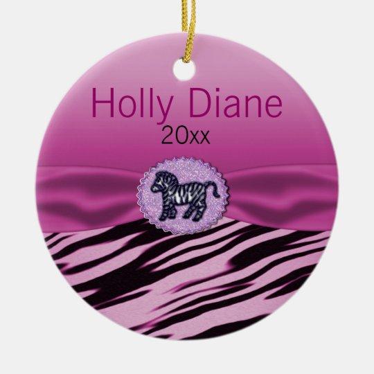 Pink & Black Zebra Glitter Baby Shower Ceramic Ornament