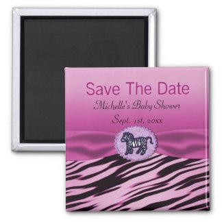 Pink & Black Zebra Glitter Baby Shower Fridge Magnets