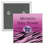 Pink & Black Zebra Glitter Baby Shower Pin