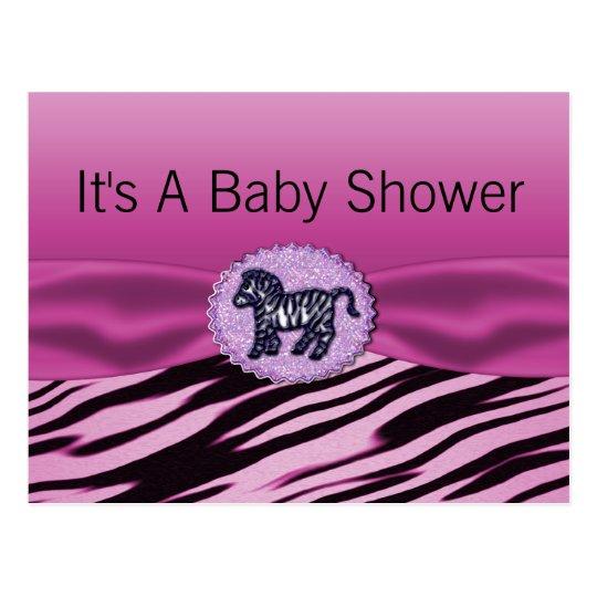 Pink & Black Zebra Glitter Baby Shower Postcard