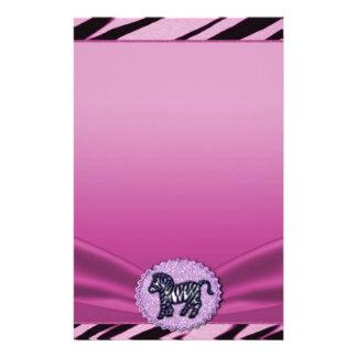 Pink & Black Zebra Glitter Baby Shower Stationery