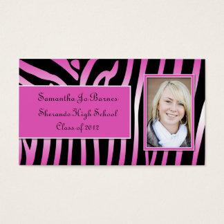 Pink Black Zebra Graduation Handouts Business Card