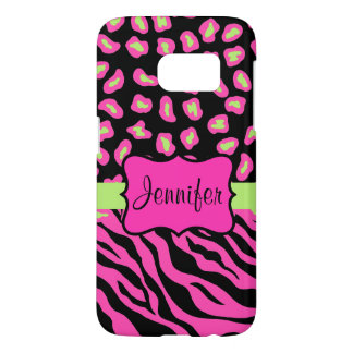 Pink, Black Zebra Leopard Skins Name Personalized Samsung Galaxy S7 Case