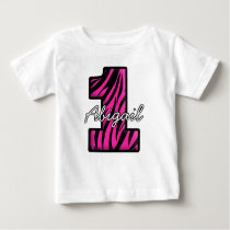 Pink Black Zebra One Year Old T-shirt
